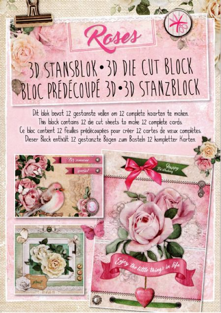 Roses 3D Die Cut Decoupage A4 Block  By Studio Light - NO CUTTING REQUIRED